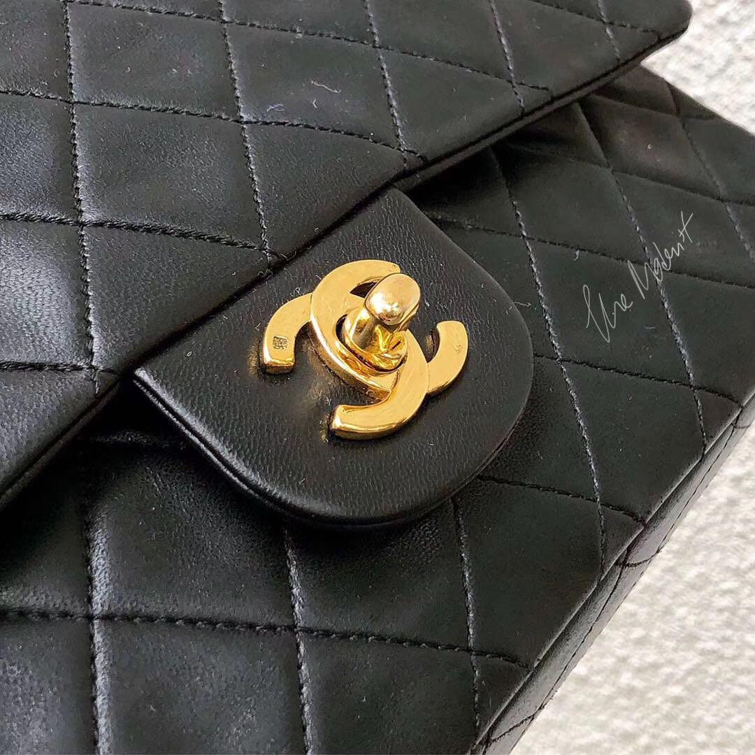 Authentic Chanel Classic Medium Double Flap Black Quilted Lambskin Gold Hardware