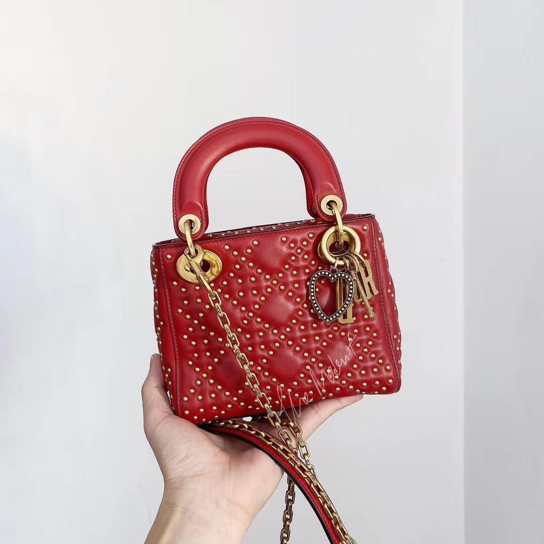 Authentic Christian Dior Mini Lady Dior Studded Valentines Day Limited Edition Red Calf Leather