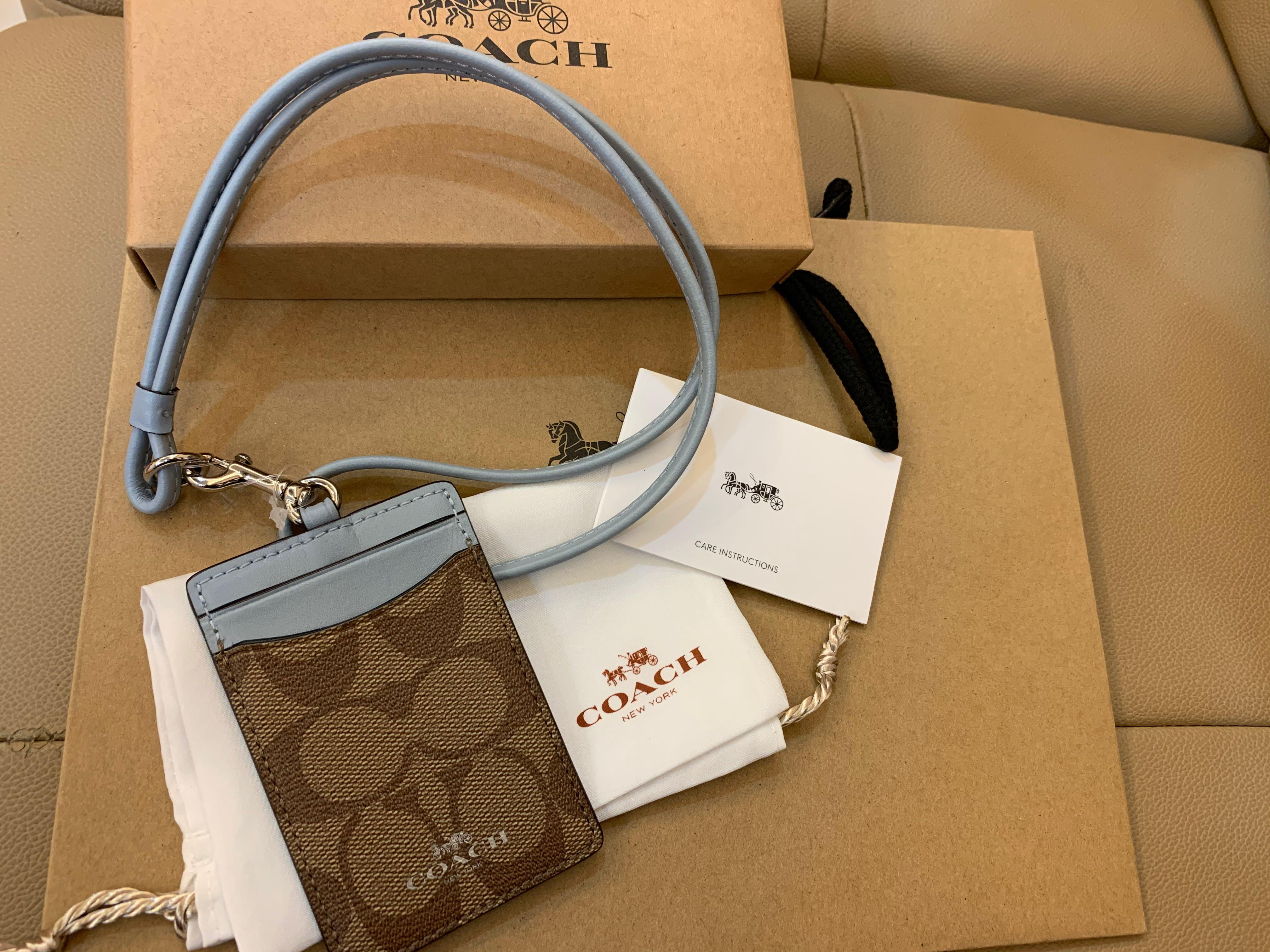 Authentic coach women lanyard sky blue card holder