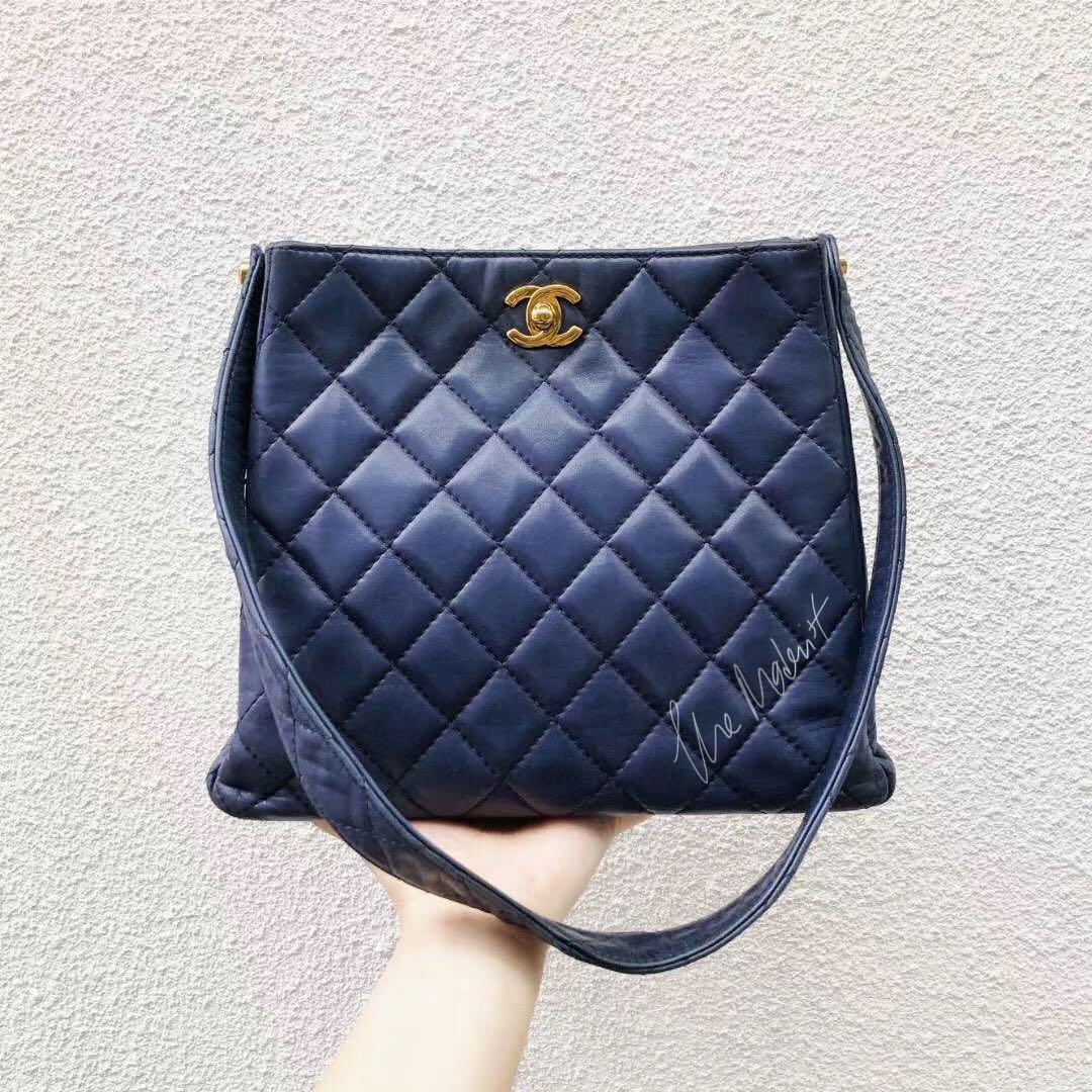 Authentic Vintage Chanel Shoulder Tote Blue Quilted Leather Gold Hardware