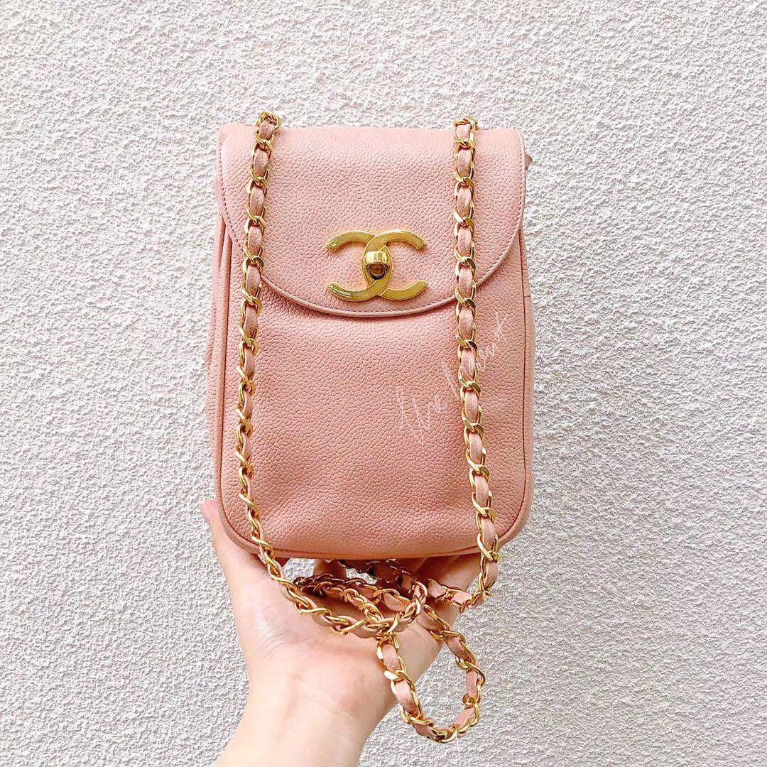 Authentic Vintage Chanel Vertical Crossbody Phone Bag Pink Caviar Leather Gold Hardware
