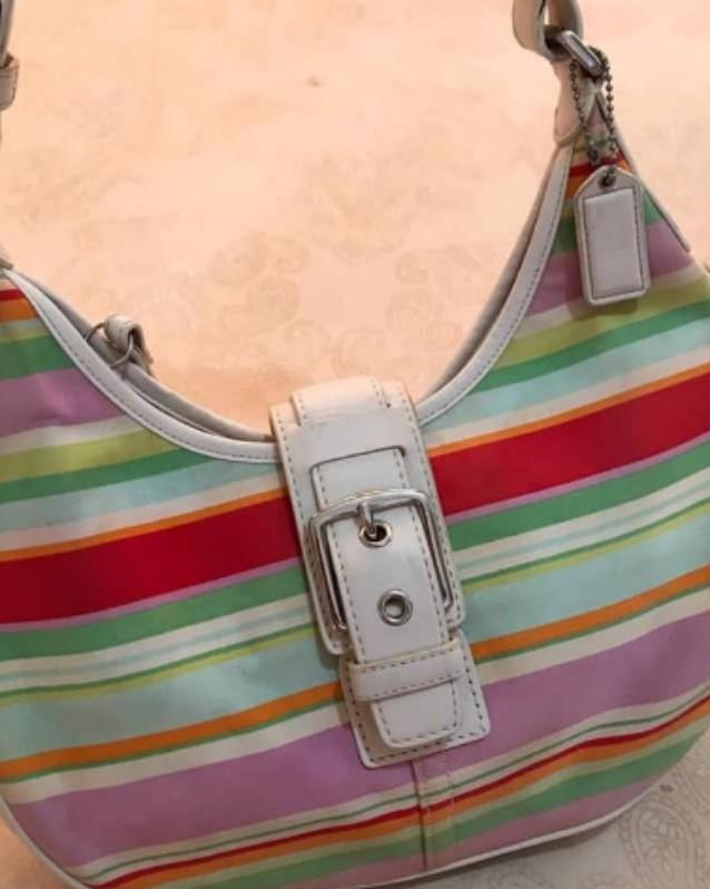 C0ach shoulderbag Authentic bahan full leather mix canvas size 30 x 19 cm mulus dan Like New