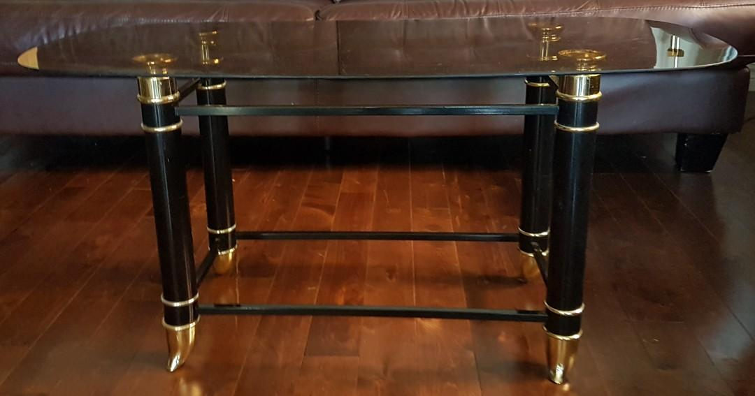 Glass Top Coffee Table with Black and Gold Accents