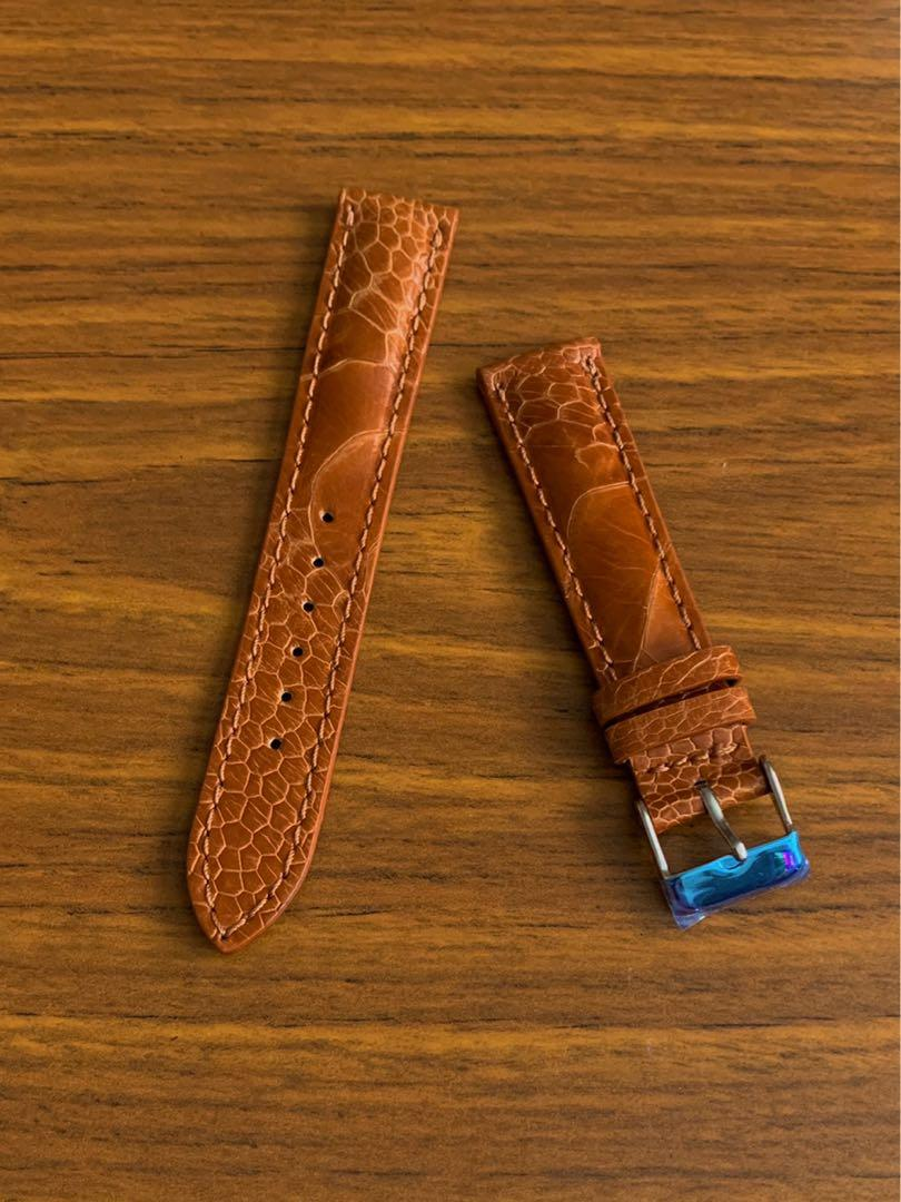 18mm/16mm Authentic Whisky 🥃 Brown Ostrich Leg Watch Strap (beautiful leg grains- one of a kind, once sold no more 😊) Standard Length- L:120mm, S:75mm