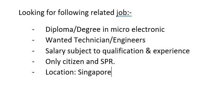 Jobs available for micro electronics background or related field (freshers / experienced)
