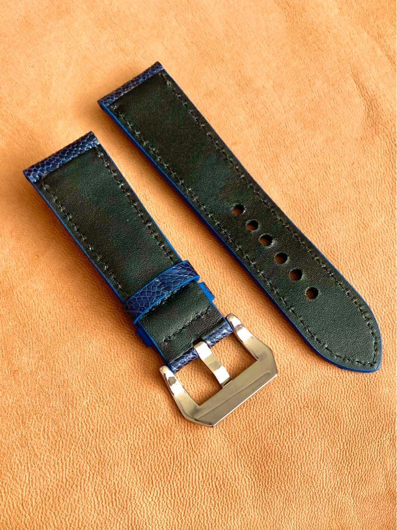 24mm/22mm Monaco Blue Ostrich Leg Watch Strap 24mm@lug/22mm@buckle  24mm/22mm     (Gorgeous piece - Only one piece, once sold no more👍🏻😊) Standard length: L-120mm,S-75mm (very stunning!)