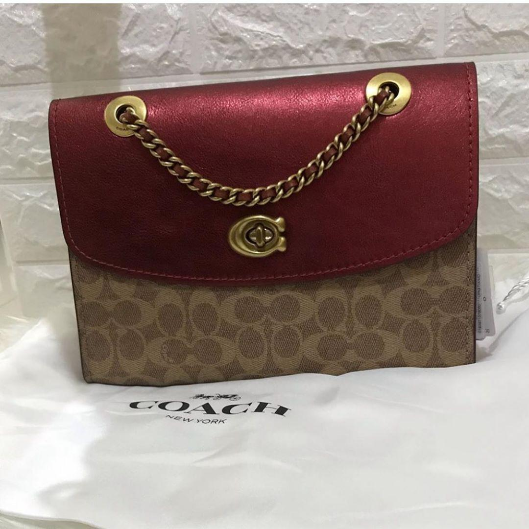 New with tag, coach parker authentic sz 27 Signature red metalic db original  Rare item  Ready stock 1 pcs 🤩🤩