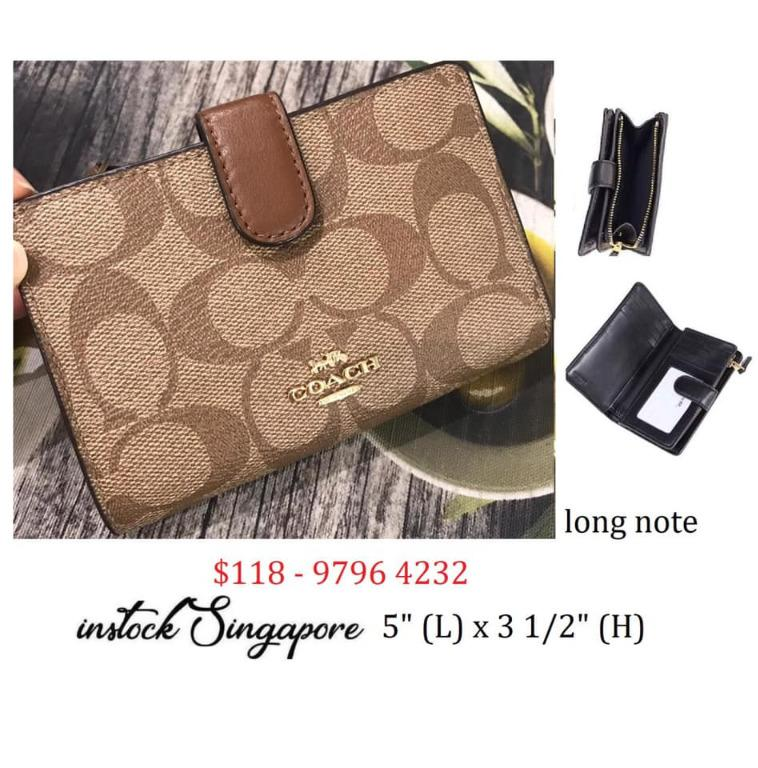 READY STOCK authentic new COACH MEDIUM CORNER ZIP WALLET IN SIGNATURE COATED CANVAS (COACH F23553)