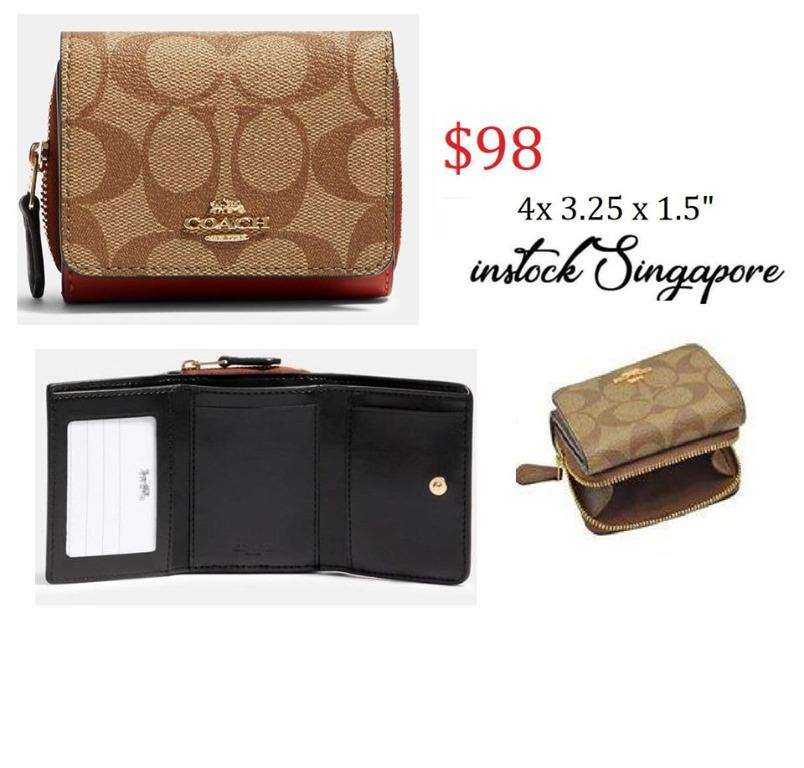 READY STOCK authentic new Coach SMALL TRIFOLD WALLET IN SIGNATURE CANVAS 91611 bicolor Signature coated canvas