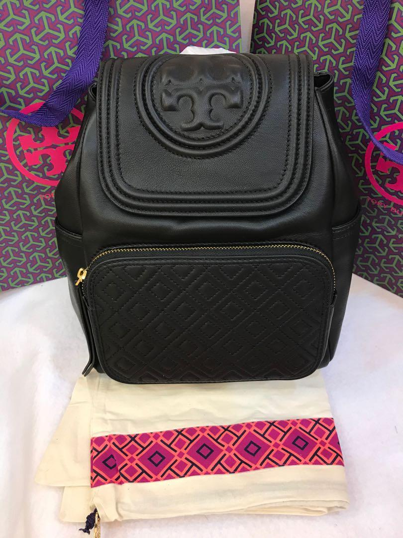 Ready Stock Authentic women Tory Burch Fleming backpack in black