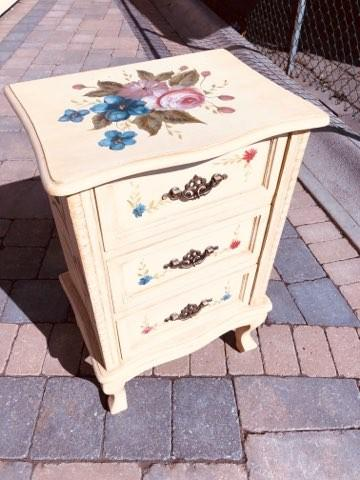 SHABBY CHIC DRESSER AND SIDE TABLE (2ITEMS, separate price) FLORAL AND BEIGE FRENCH STYLE