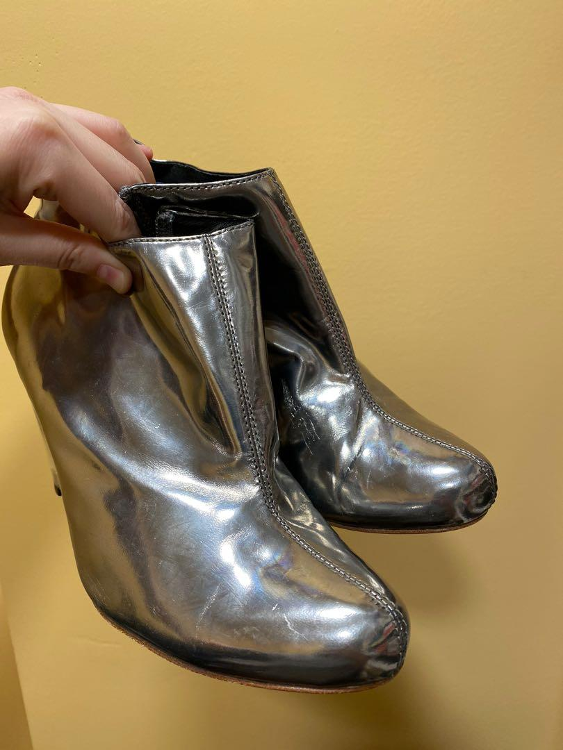 Size 7.5 Genuine Leather Metallic Silver Wedge Booties