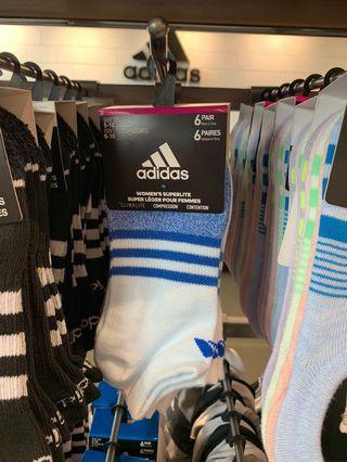Adidas 女阿迪達斯無外示運動襪六雙包