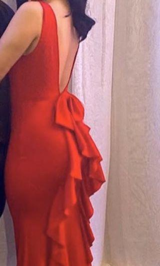 Red beautiful open back dress with bow