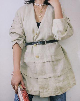 (S-M) Vintage Italy Louisa Linen Topper Coat