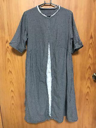 日本🇯🇵帶回~ 🌼黑色格紋蕾絲洋裝(新品)(有口袋)🌼