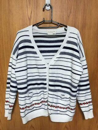 韓國🇰🇷帶回~ 🌼白色橫條紋毛衣外套(古著)🌼