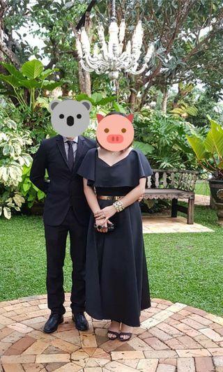 Black neoprene long gown