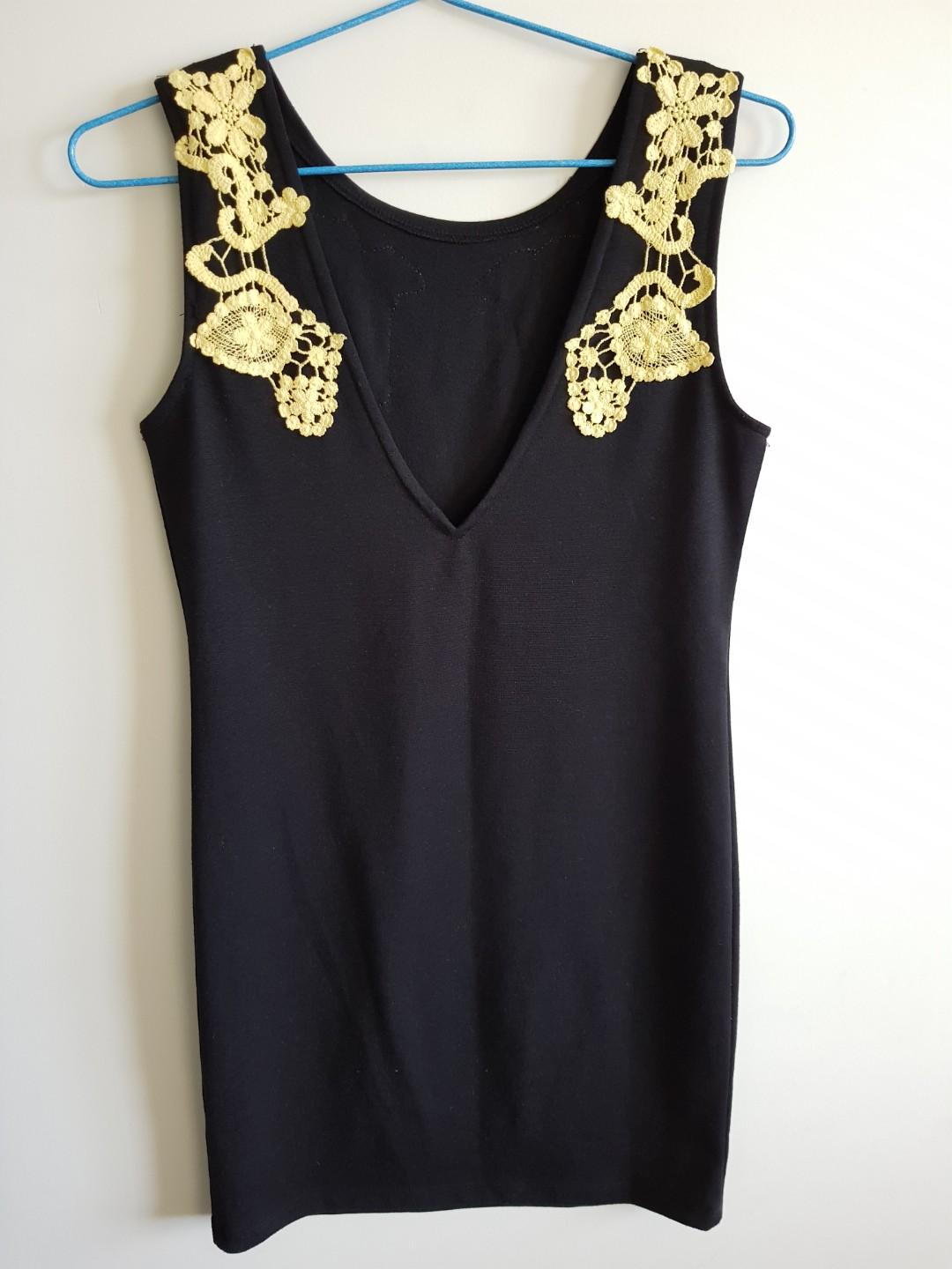 Beautiful black dress with yellow lace details $15