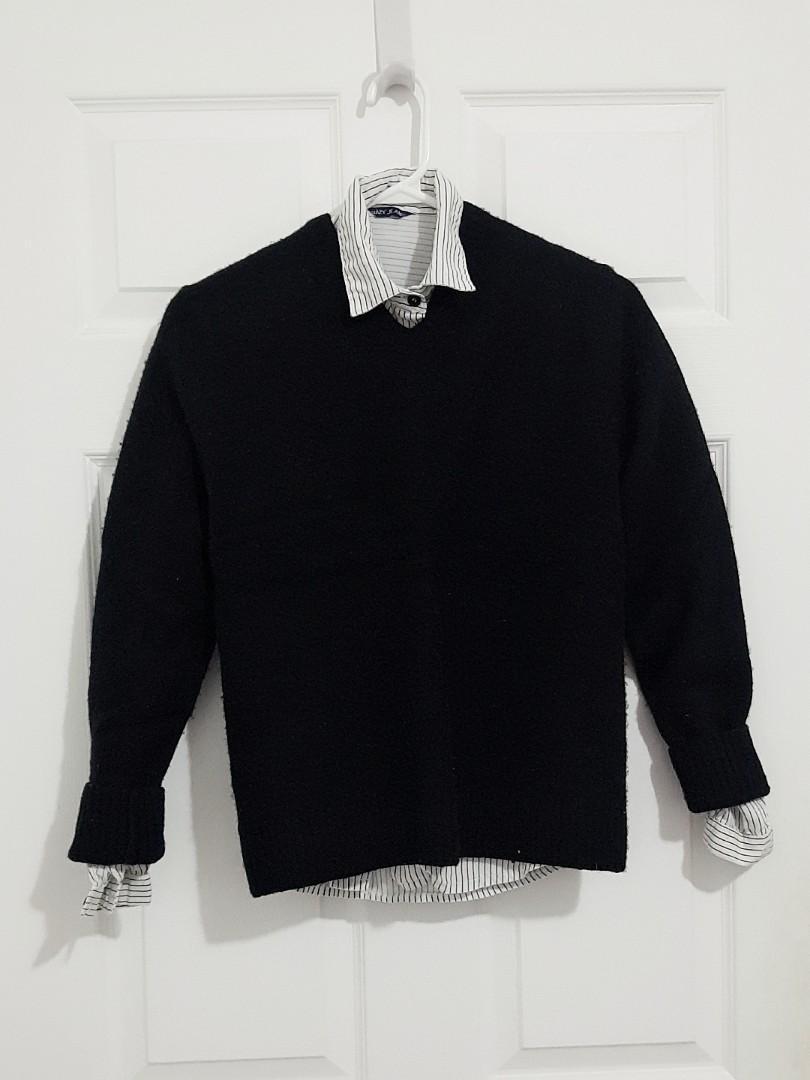 Black Brown 1826 V-Neck Wool-Blend Sweater (Black)