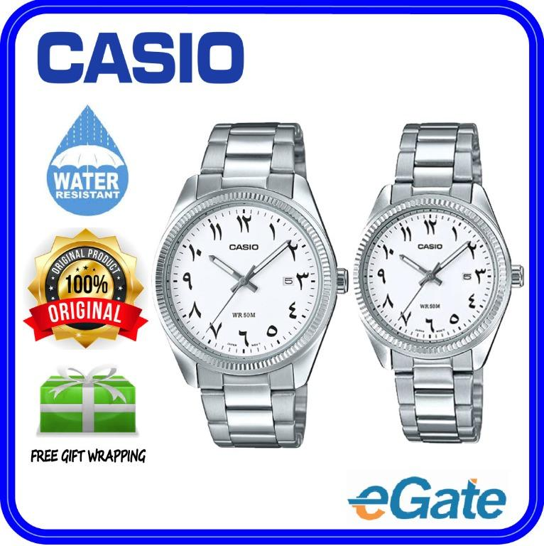 Casio MTP-1302D-7B3V & LTP-1302D-7B3V Couple Analog Date Functioning White Dial Arab Number Stainless Steel Strap Original Casual Watch