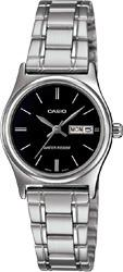 Casio MTP-V006D-1B2 & LTP-V006D-1B2 Couple Date Day Functioning Classic Black Dial Stainless Steel Strap Original Casual Watch