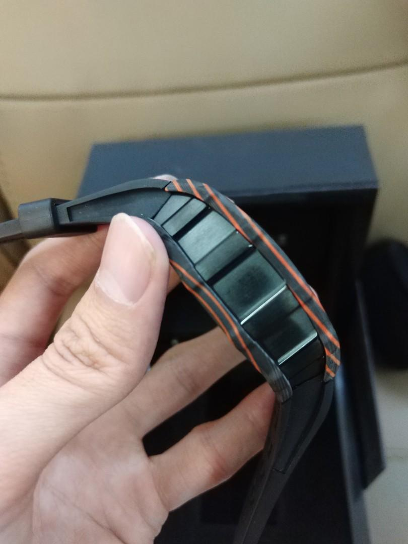 (Cheap sell) KVF Richard Mille's RM011-03 Mc Laren Automatic Flyback Chronograph Black & Orange Forged Carbon 7750 Movement