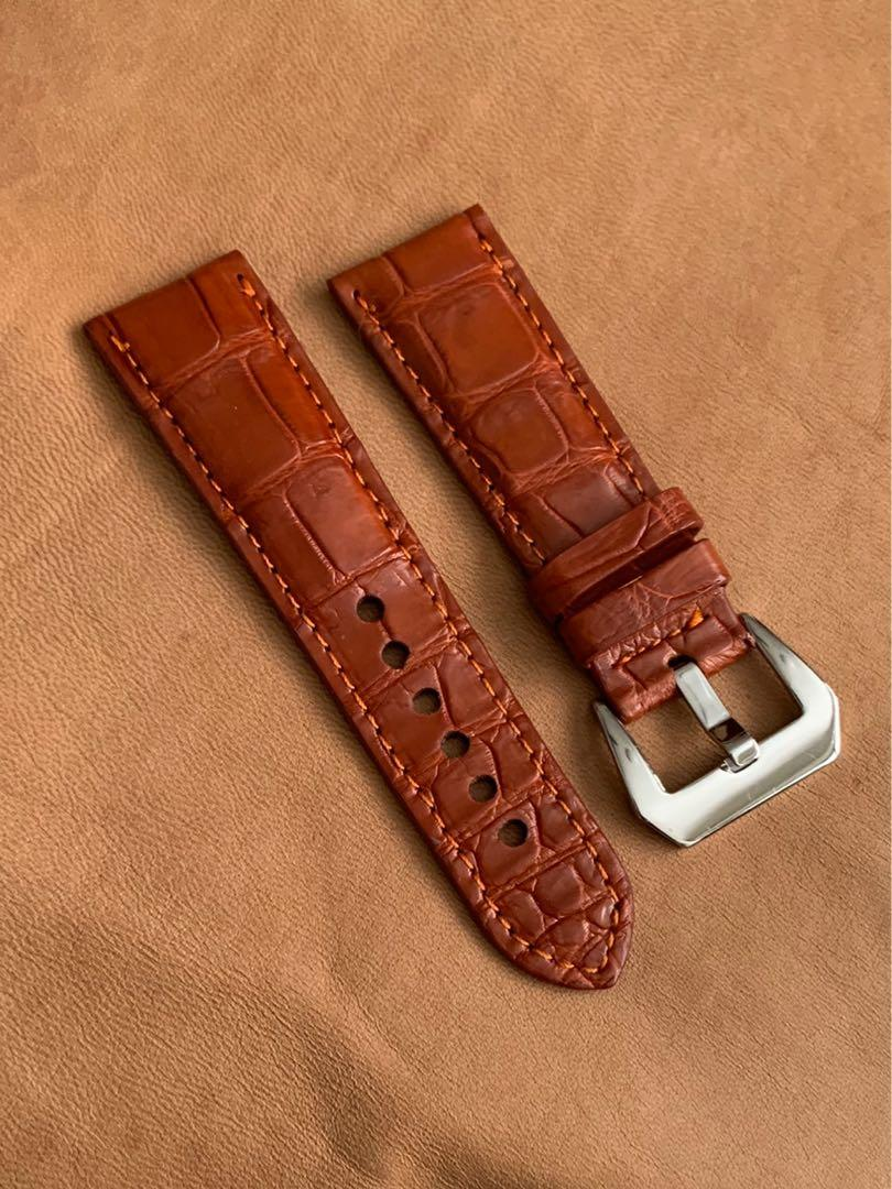 26mm/22mm Mahogany Brown Alligator 🐊 Crocodile Watch Strap (smooth belly grains) 26mm@lug/22mm@buckle  26mm/22mm (standard length- L:120mm, S:75mm)