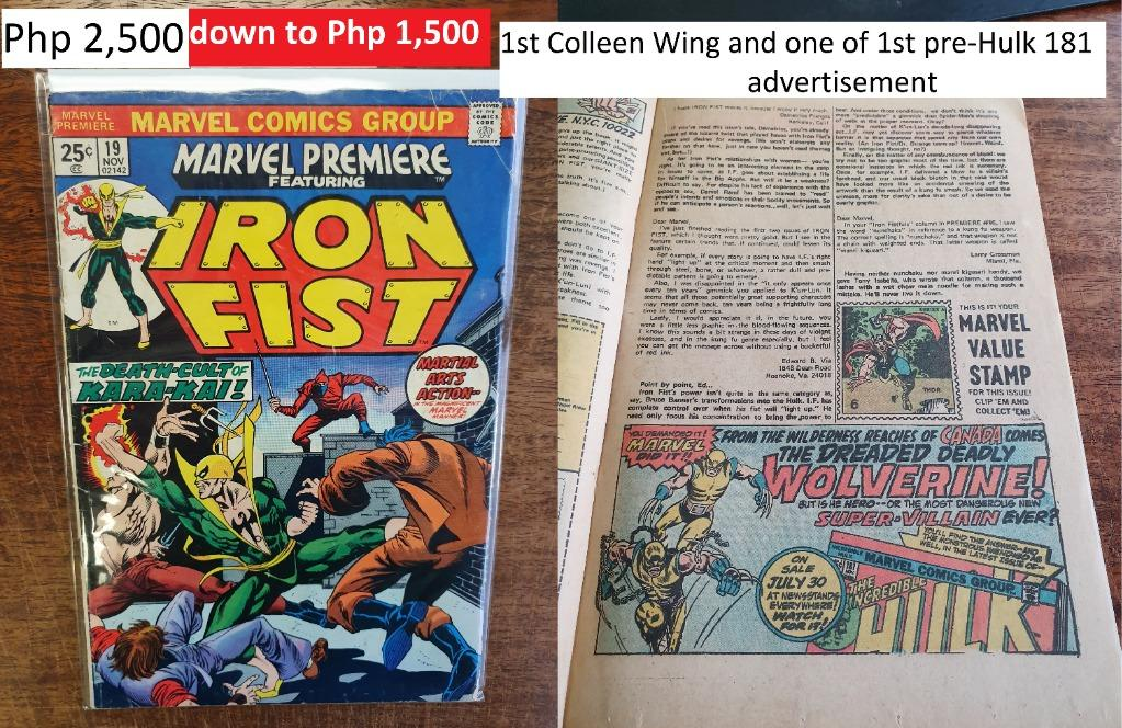 Marvel Comics Iron Fist 19 1st Appearance Colleen Wing Hulk 181 1st Wolverine Advertisment