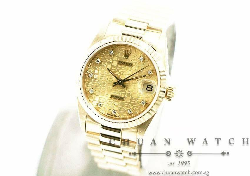 Pre-Owned Rolex Boys' DateJust President Yellow Gold 31mm 68278 Champagne Jubilee Diamonds - Discontinued