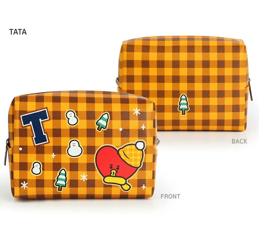 (PROMO) [PREORDER] BTS BT21 PU Square Pouch Check Large