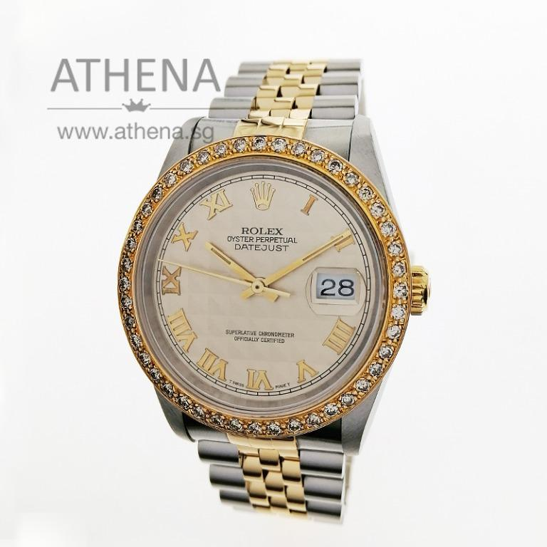 """ROLEX YELLOW ROLESOR MENS OYSTER PERPETUAL DATEJUST """"C"""" SERIES """"IVORY PYRAMID ROMAN DIAL"""" WITH CUSTOMISE FULL DIAMOND BEZEL 16233 WLWRL_1218"""
