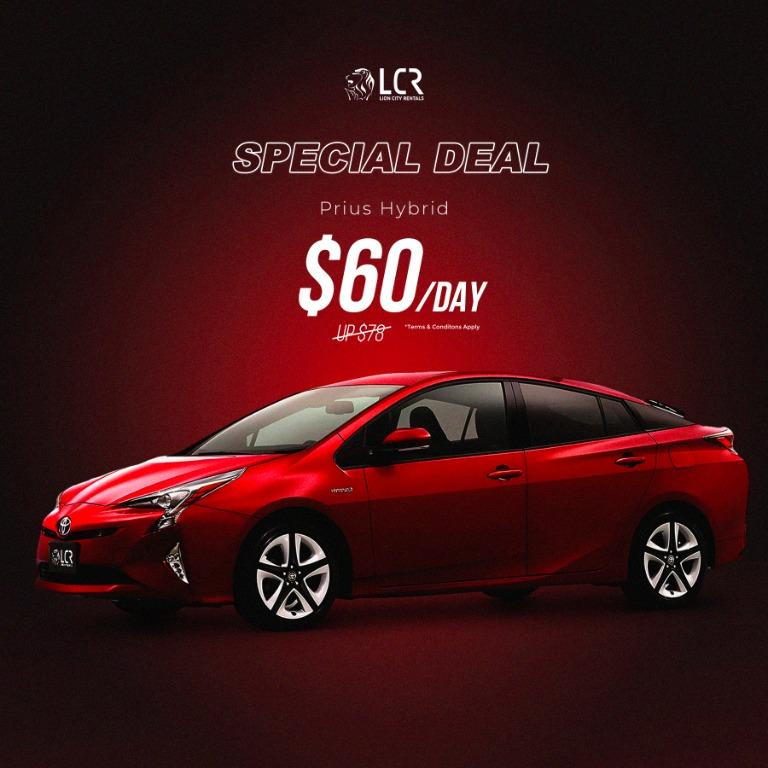 Toyota Prius @ $60/day! Offer valid till 14/03/2020