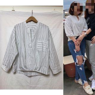 giordano/ladies 單口袋線條襯衫