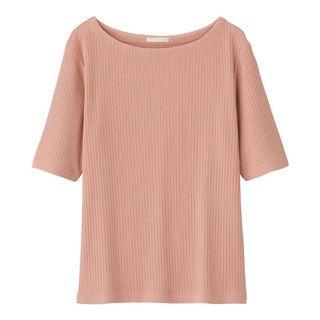 「降價囉」GU 女裝羅紋船型領T恤(短袖)