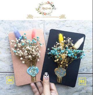 蓝色系兔尾满天星花卡 • Blueish Theme Rabbit Tail Baby Breath Floral Card