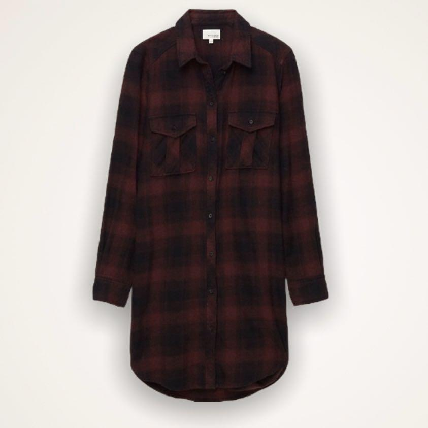 Aritzia Wilfred Free - long flannel dress shirt size large