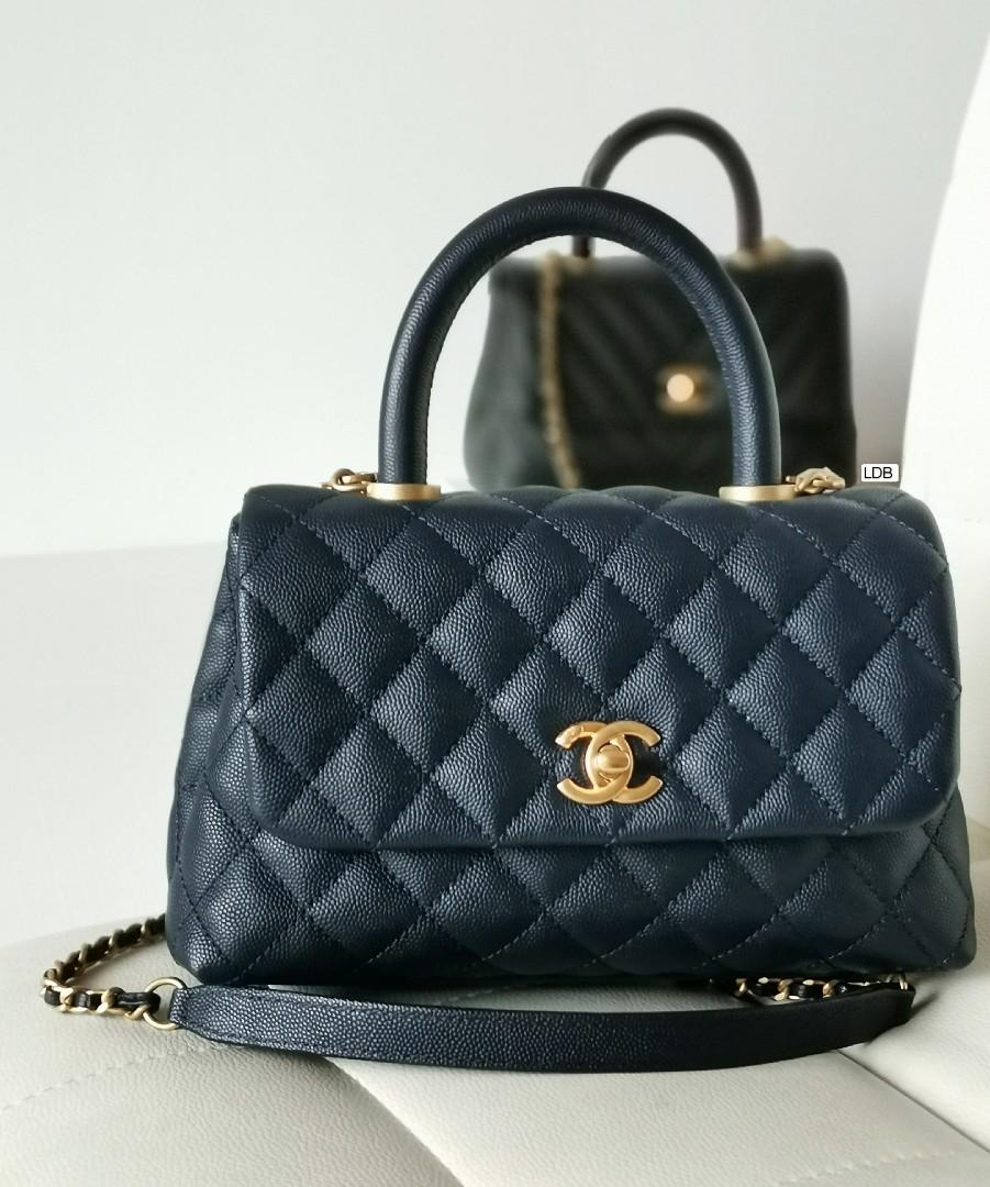 Authentic Chanel CoCo Handle Small A92990 24cm Indigo Blue Caviar with Gold Hardware