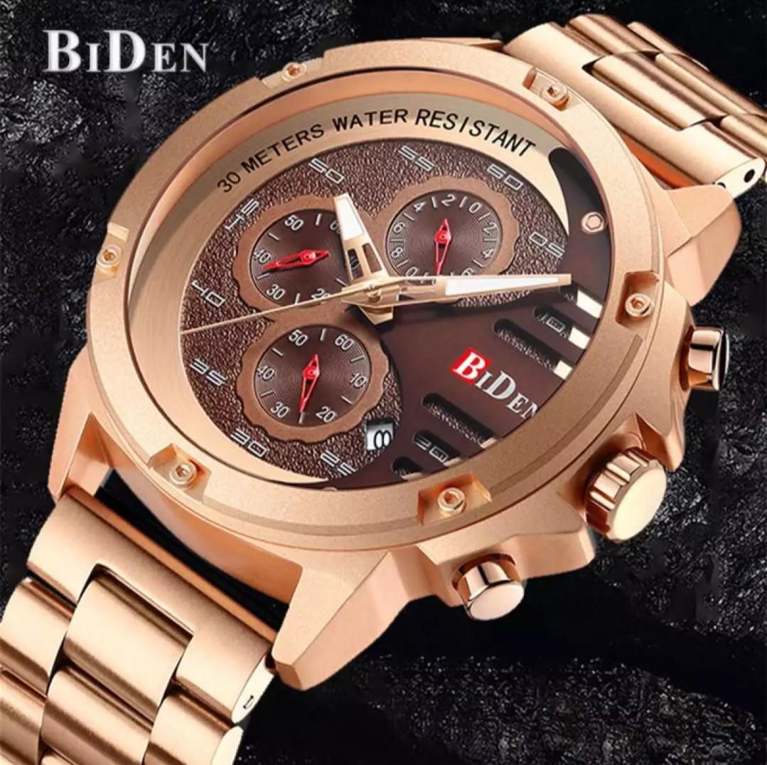 Brand : BiDen 0116 Kualitas : Original  Display : analog, chrono on, tgl on, water resist  Diameter : -+4,8cm Tali : rantai  Free box original