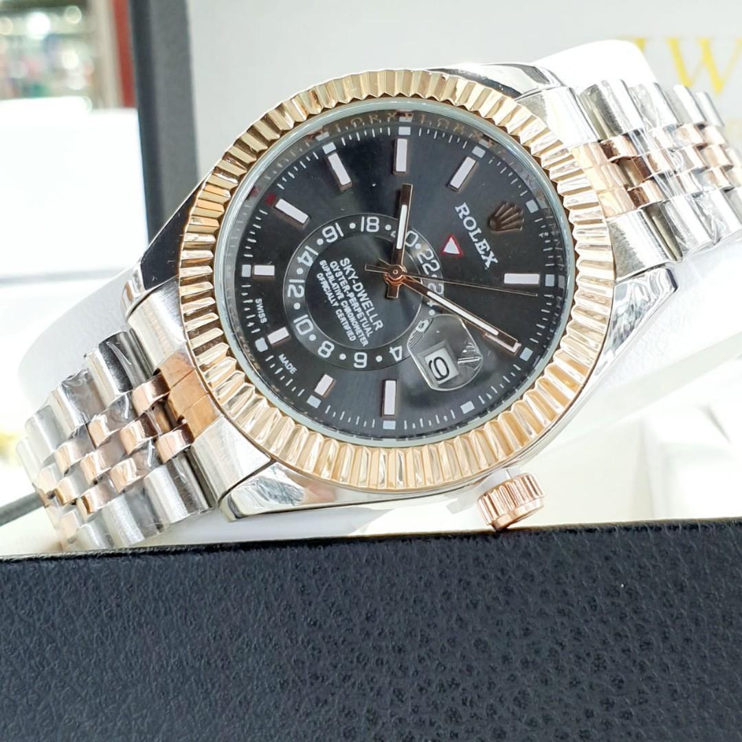 Brand : Rolex  Kualitas : Super  Display : analog, tgl on  Diameter : -+4cm Tali : rantai