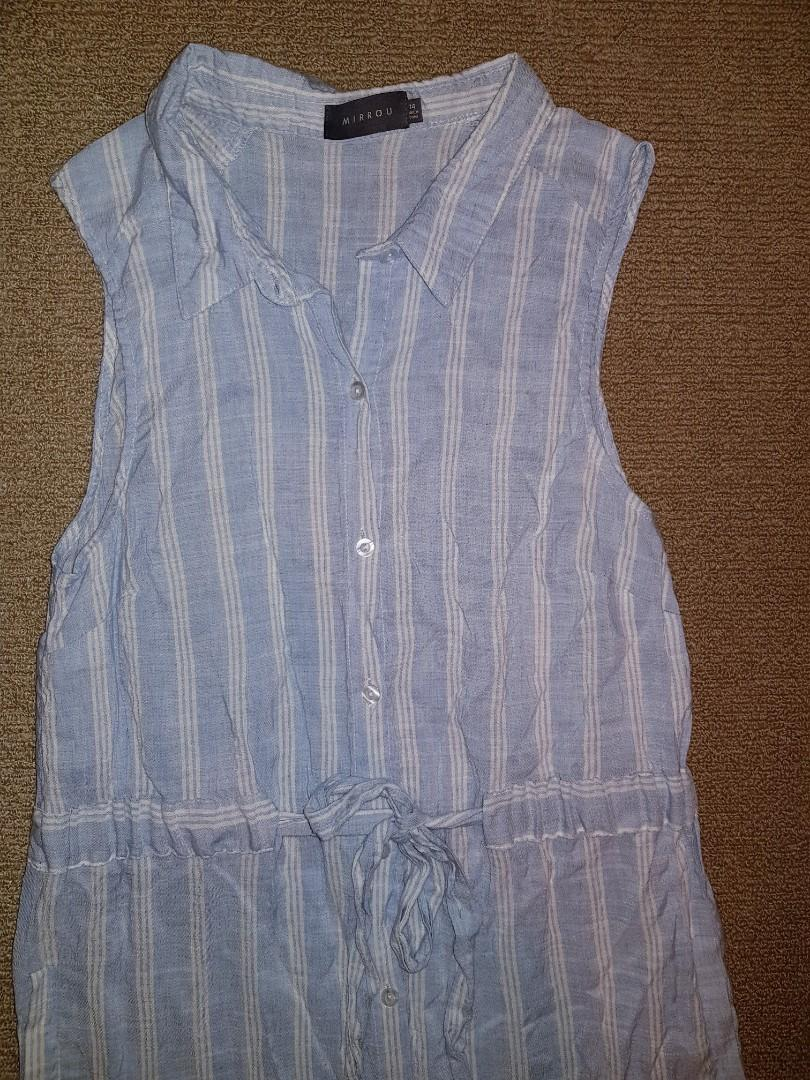 BRAND NEW Mirrou classic long blue & white striped cotton dress $10