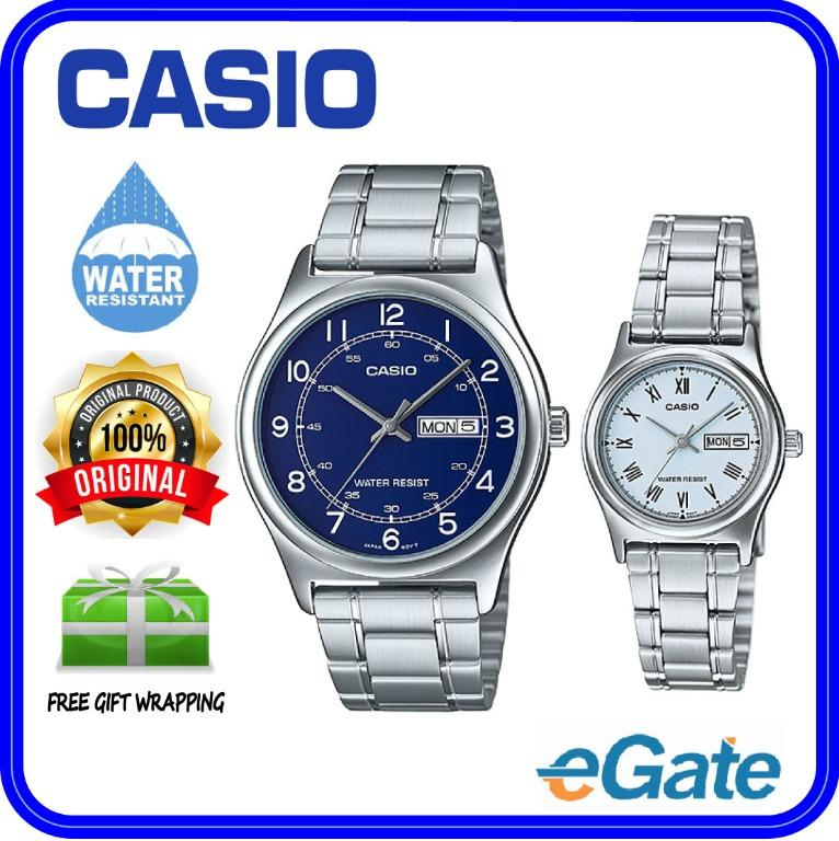 Casio MTP-V006D-2B & LTP-V006D-2B Couple Analog Date Day Functioning Classic Blue Dial Stainless Steel Strap Original Casual Watch