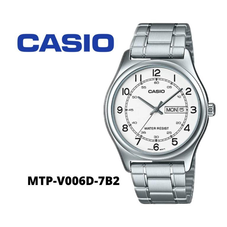 Casio MTP-V006D-7B2 Men Analog Date Day Functioning Classic White Dial Stainless Steel Strap Original Casual Watch MTP-V006D