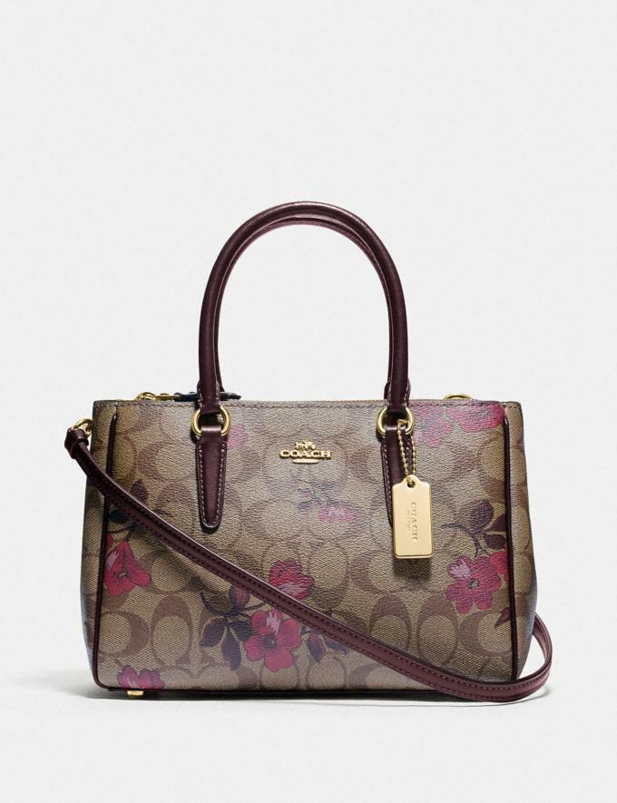 coach Mini Surrey Carryall In Signature Canvas With Victorian Floral Print F88563