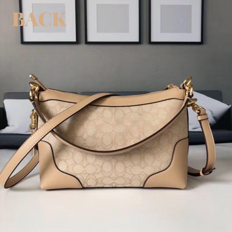 COACH Small East/West Ivie Shoulder Bag In Signature Jacquard F46285 Light Khaki Beechwood Light Gold