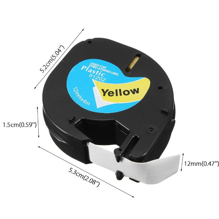 Compatible Dymo LetraTag Labeling Tape LT 91201/12267/91202/91203 Refill 12mmx4m Cassette