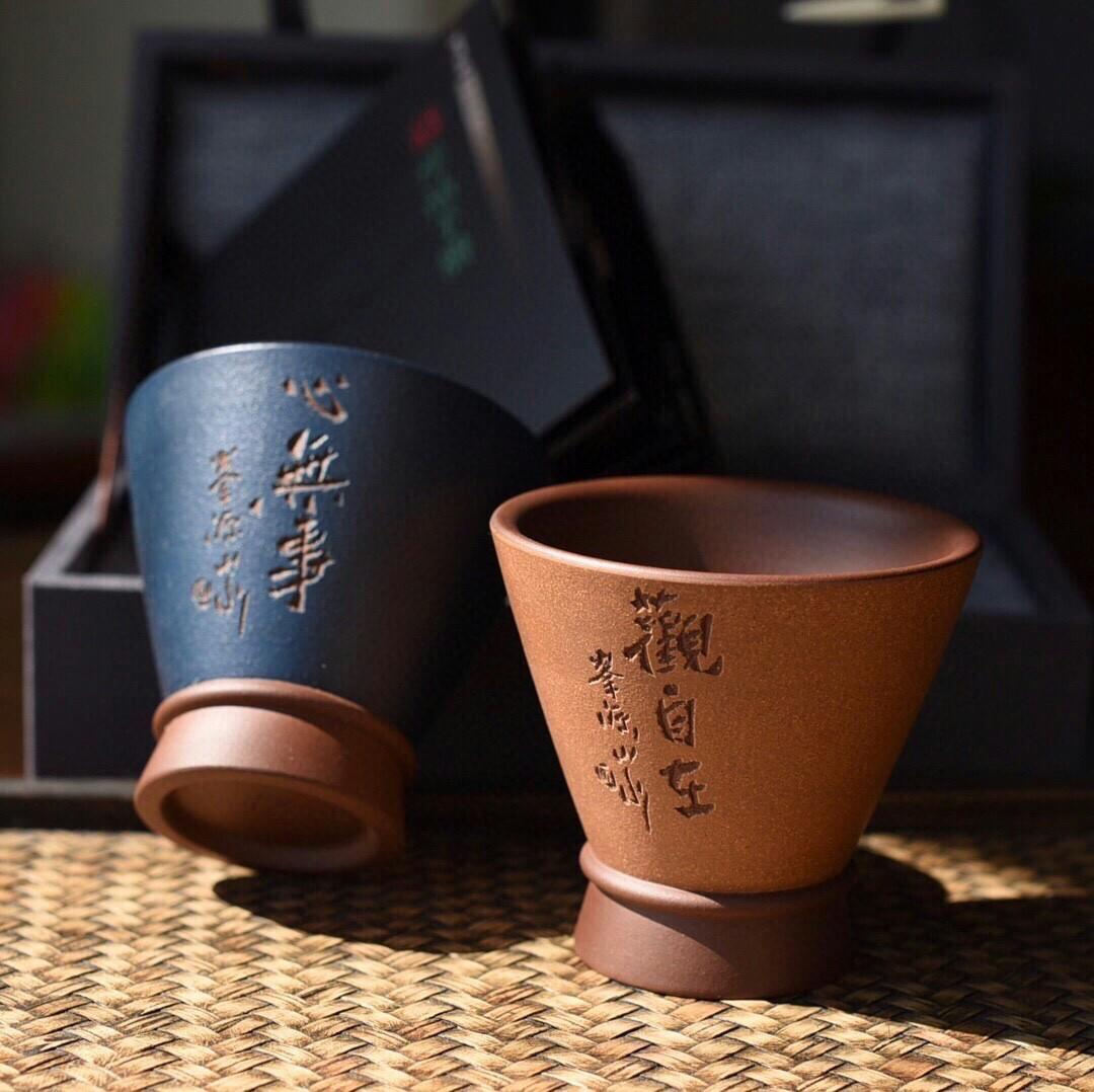 Exported to Japan tail cargo tall hat light masters cup handmade refined base Huang Longshan violet arenaceous do a precious fabrics another period of the republic of China green do after degrees of high temperature mud do fabrics cup body modelling conci