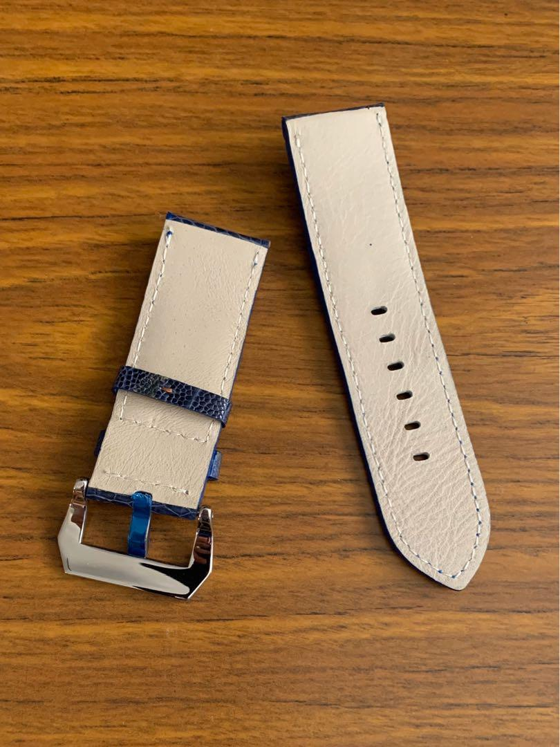 26mm/26mm Authentic Monaco Blue Ostrich Leg Leather Watch Strap (last piece in 26mm lug, once sold- no more 😊)