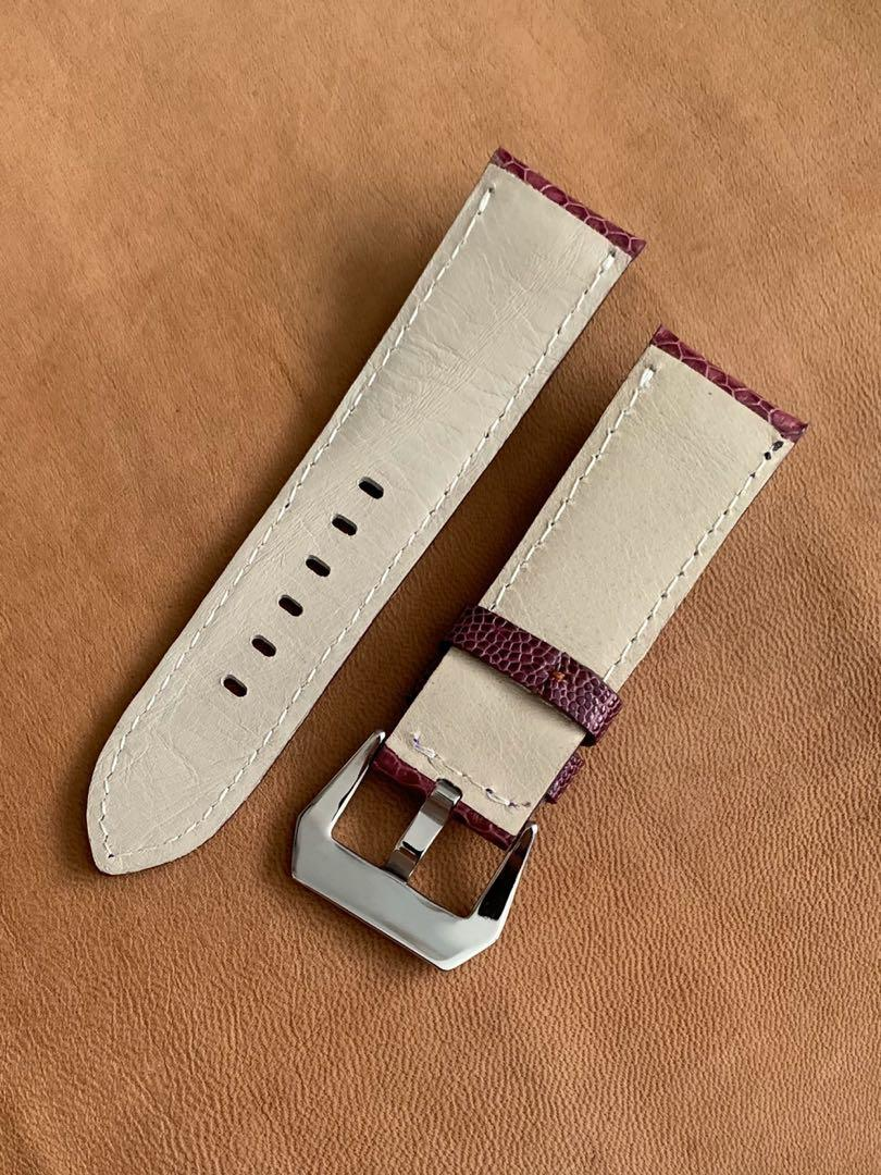 24mm/22mm Purple Ostrich Leg Watch Strap 24mm@lug/22mm@buckle  24mm/22mm     ( beautiful piece - Only one piece, once sold no more👍🏻) Length: L-115mm,S-75mm