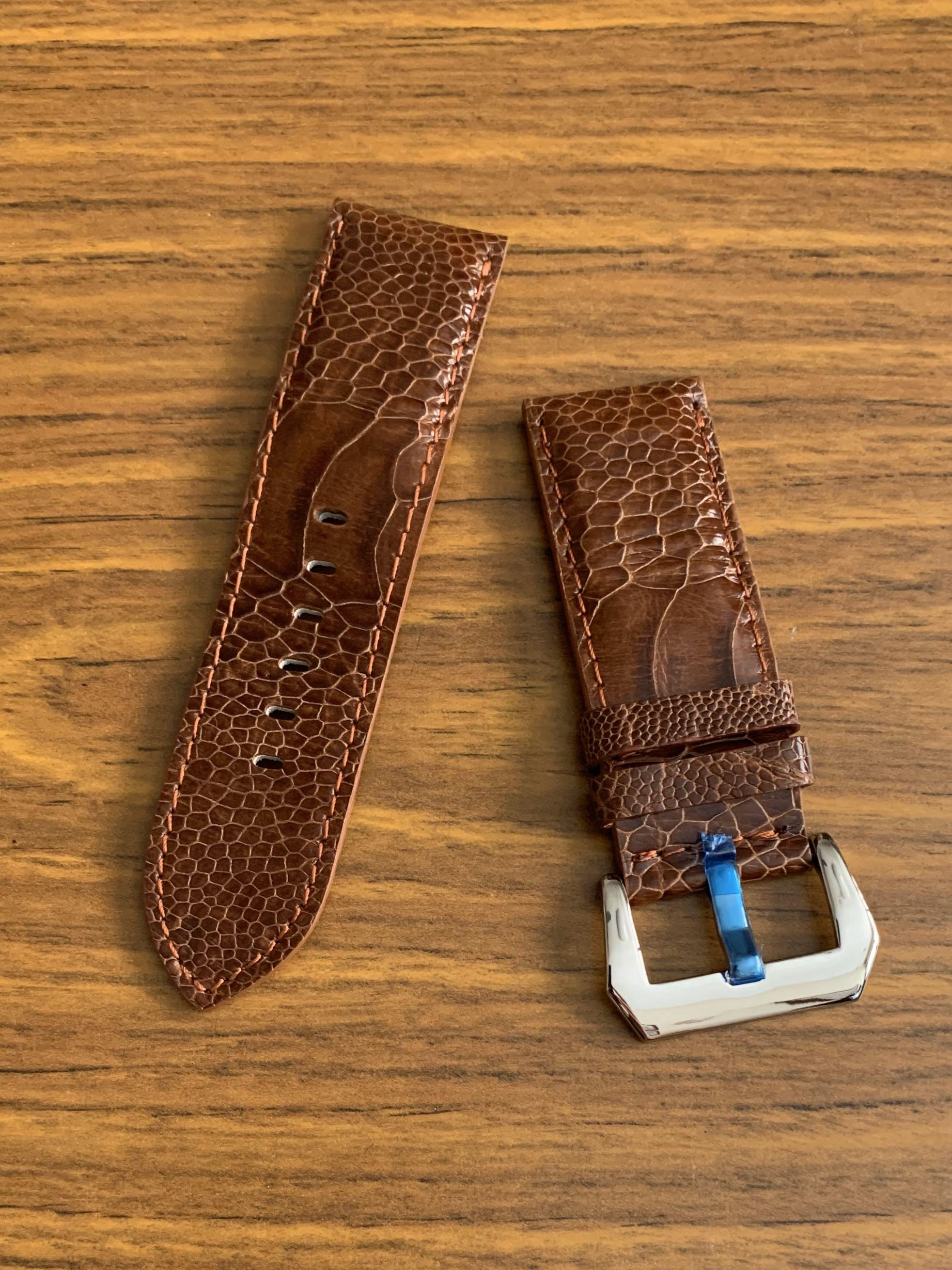 26mm/26mm Authentic Cognac Brown Ostrich Leg Leather Watch Strap (second and last piece: once sold- no more 👍🏻😊) Standard Length- L:120mm, S:75mm